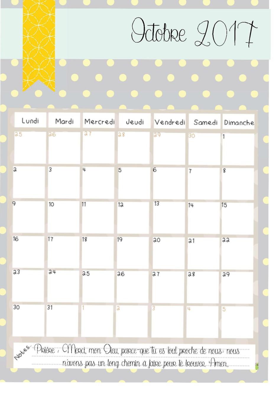 le calendrier pour le mois d'octobre!