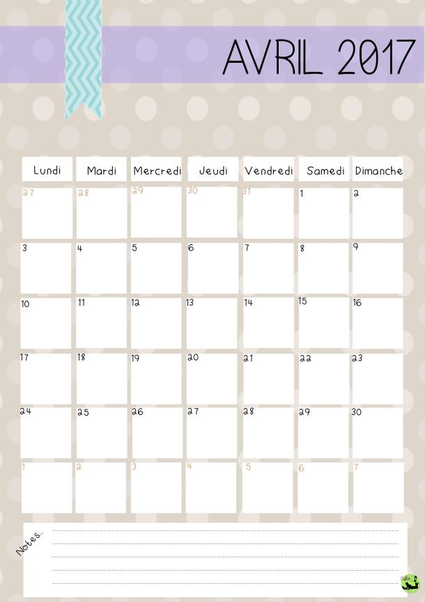 Et voici le printemps, voici le mois d'avril en calendrier !