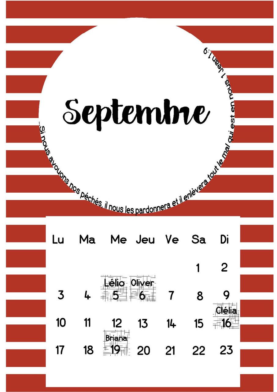 Page Calendrier.La Page Calendrier De Septembre