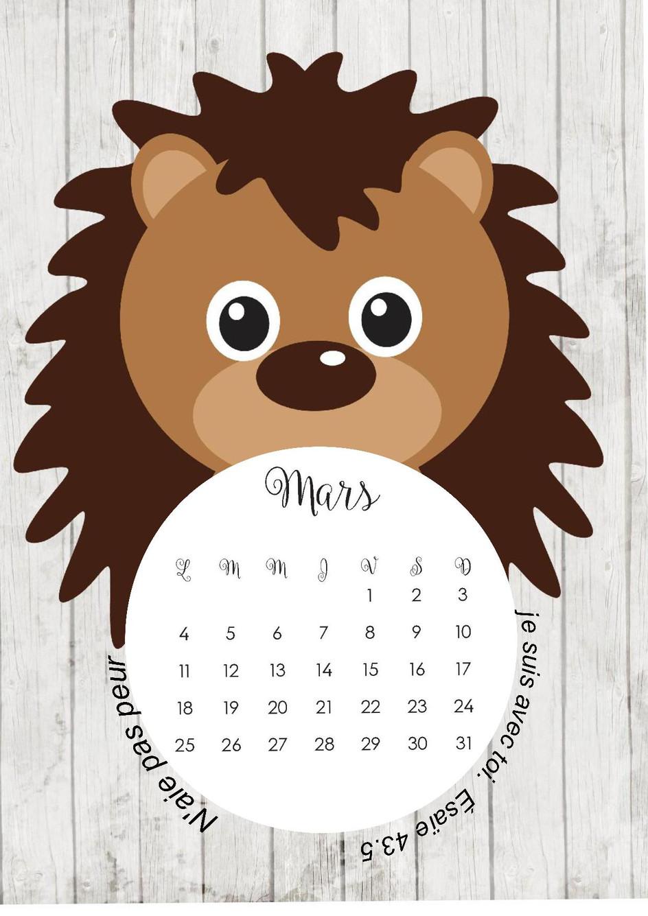 La page calendrier de mars