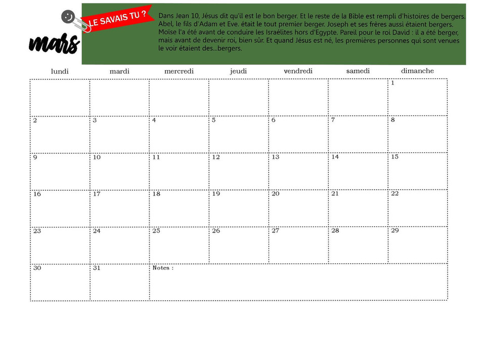 Page calendrier mars
