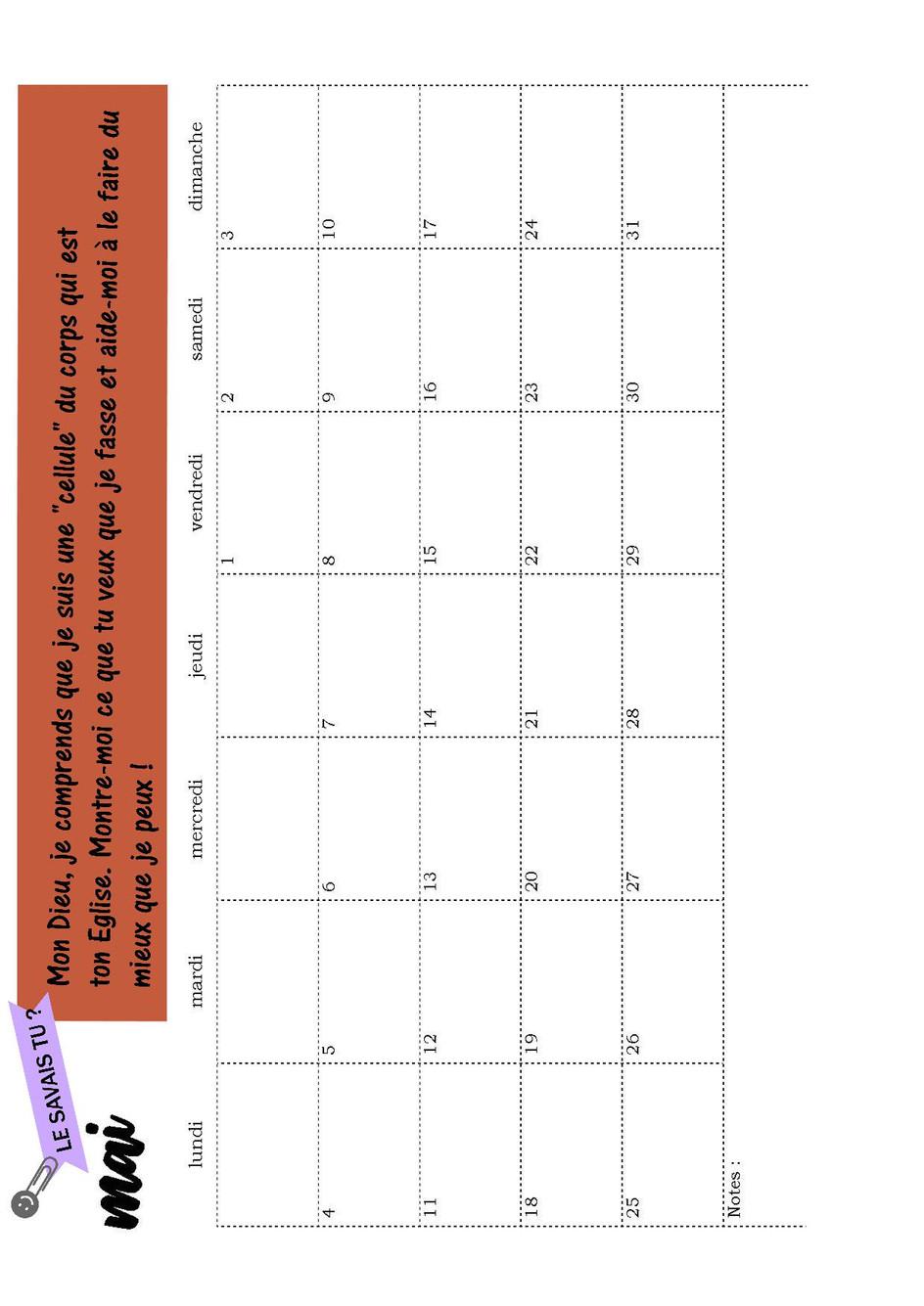 Page calendrier Mai