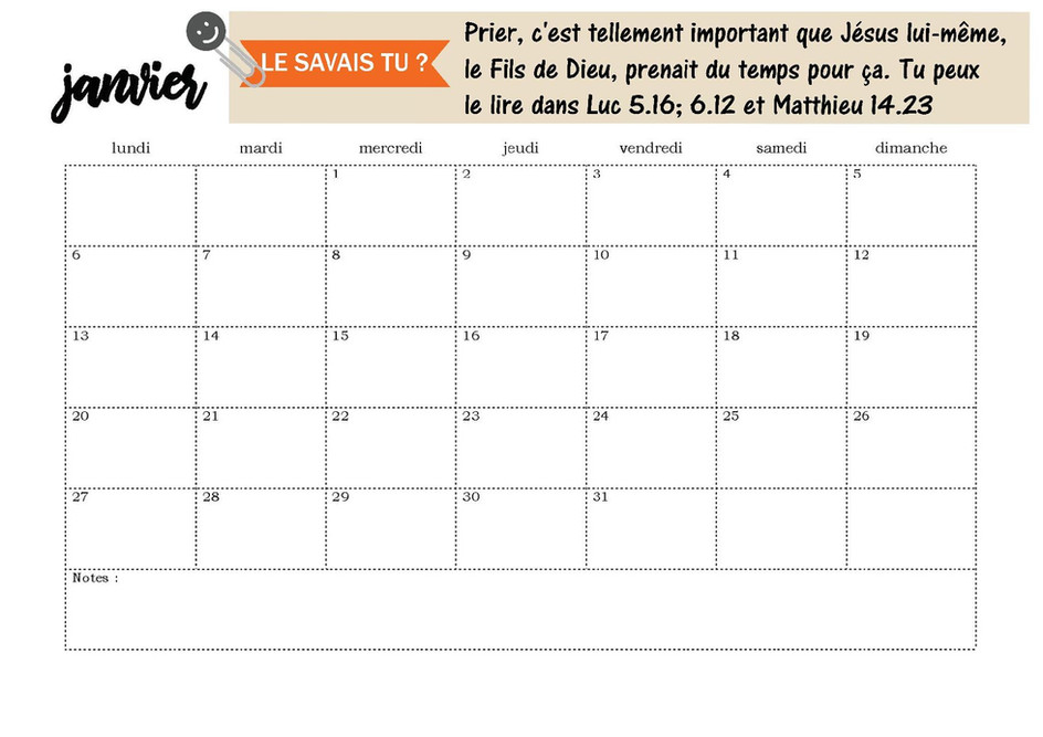 Page calendrier de janvier 2020