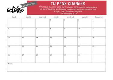 Page calendrier d'octobre