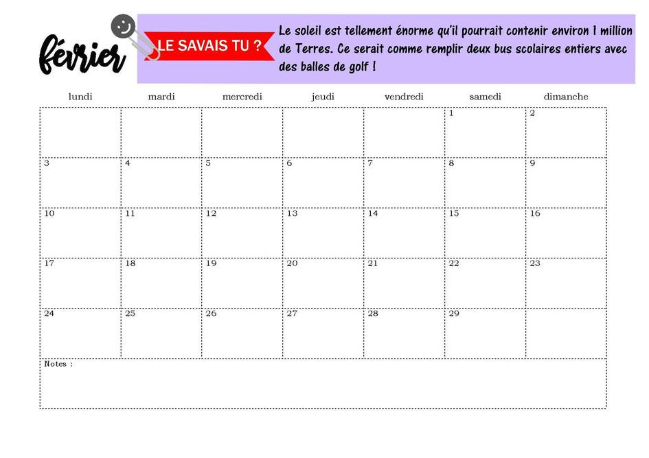 Page calendrier février 2020