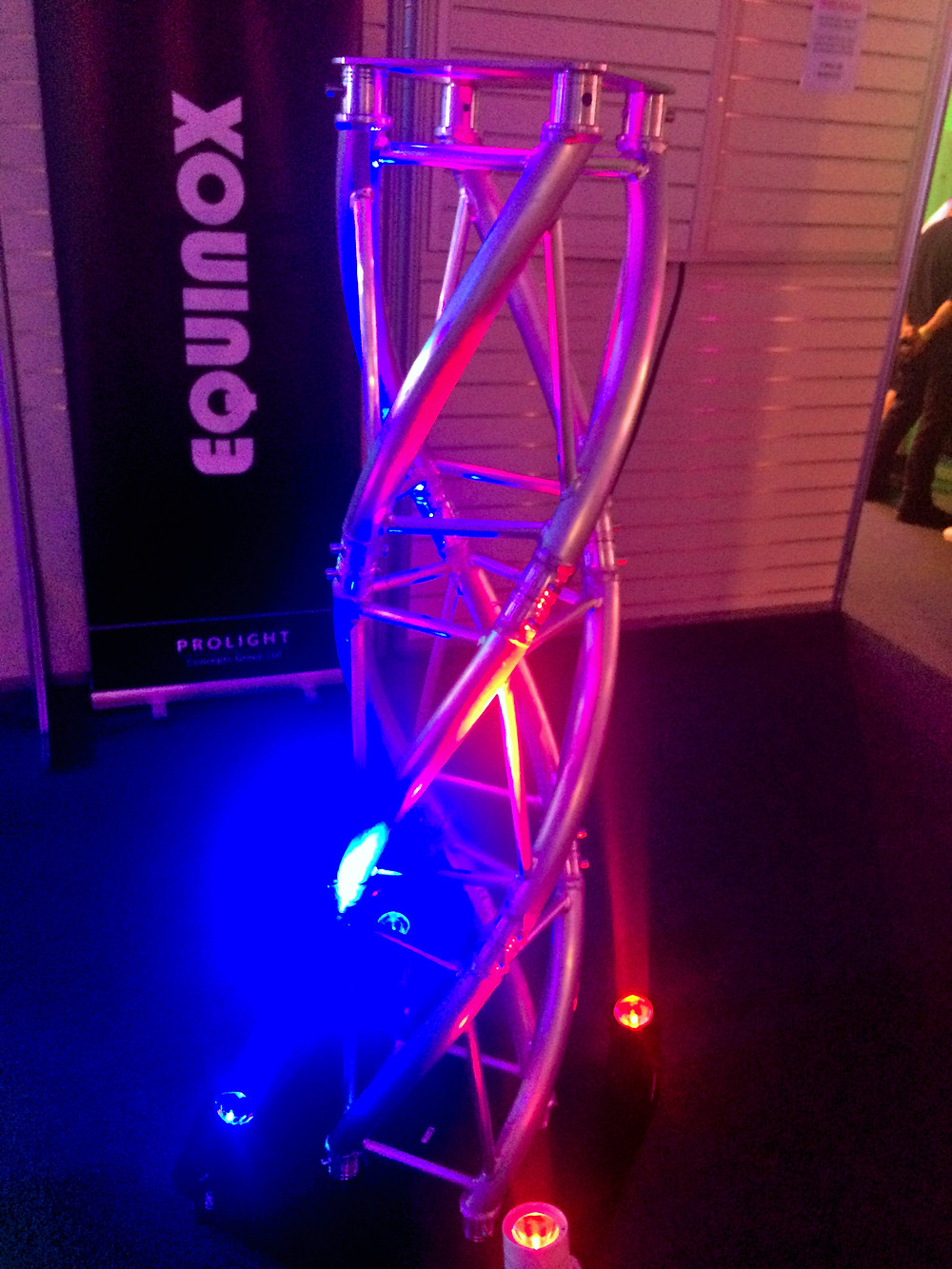 A Very Well lit Twisted truss from Equinox displaying at BPM 2019