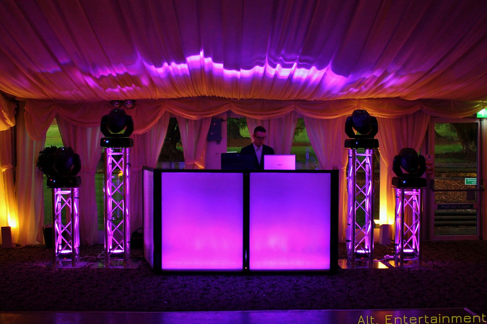DJ, Disco & Professional lighting setup, at New Hall Hotel, Sutton Coldfield.