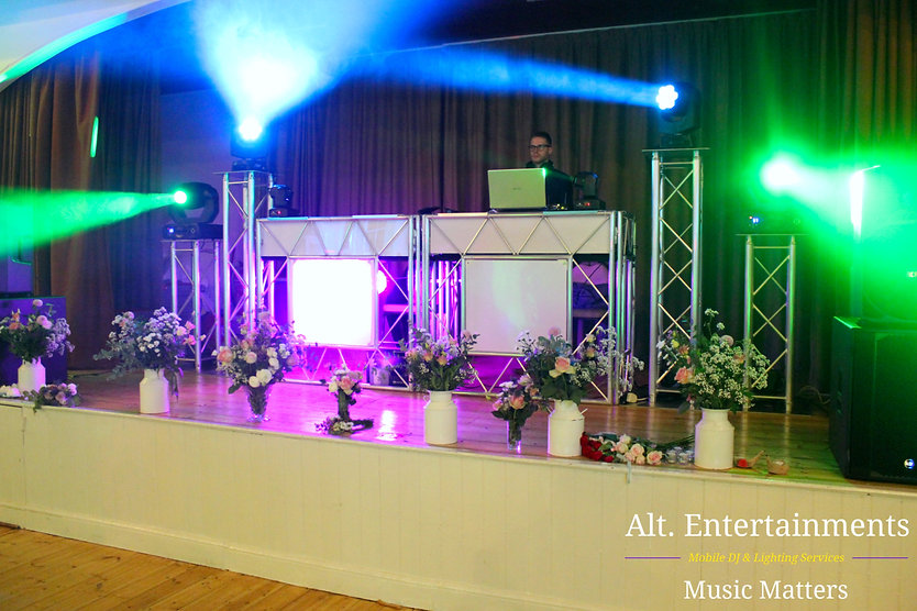 Large Setup at Dorthea Mitchell Village Hall, Claverdon Warrickshire. Picture taken by Alt. Entertinments Mobile DJ/Disco Located in Walsall Wood Near Lichfield & Sutton Coldfield.