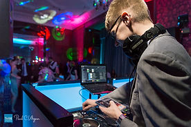 Ian Bennett DJing for a wedding at Lillieshall National Sports Centre, Shropshire.