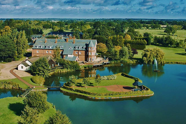 Ariel shot of Ardencote Manor Hotel in Wrwickshire.