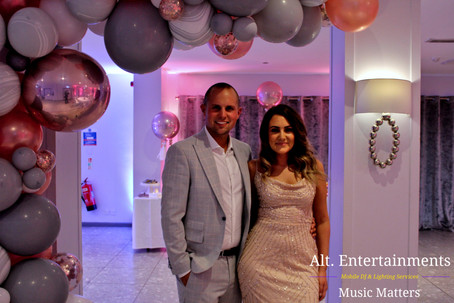 Couple posing before wedding party. Barons Court Hotel Walsall Wood. Photo taken by Alt. Entertainments Mobile DJ & Disco Services located in Walsall Wood near Lichfield & Sutton Coldfield.