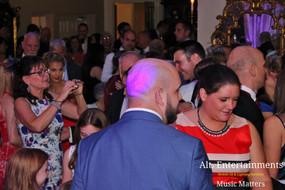 Crowd at wedding reception