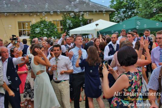 Bubbles Otside at Wedding