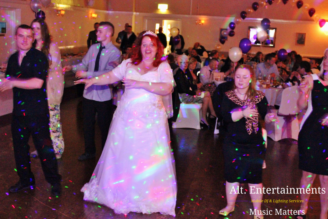 Bride and Wedding Guests dance at wedding