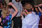 Wedding crowd having fun at disco.