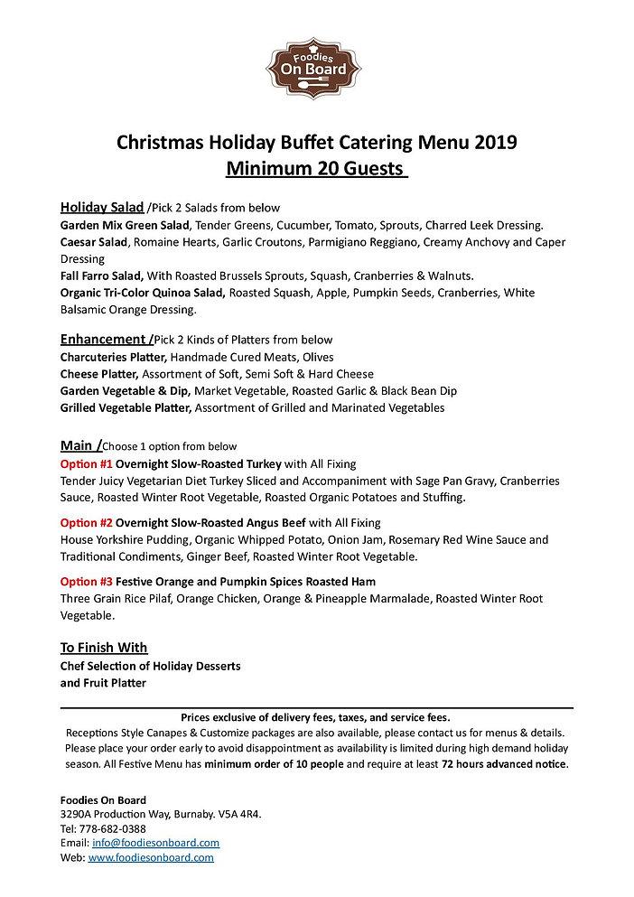 2019 Christmas Hot Buffet Dinner Caterin