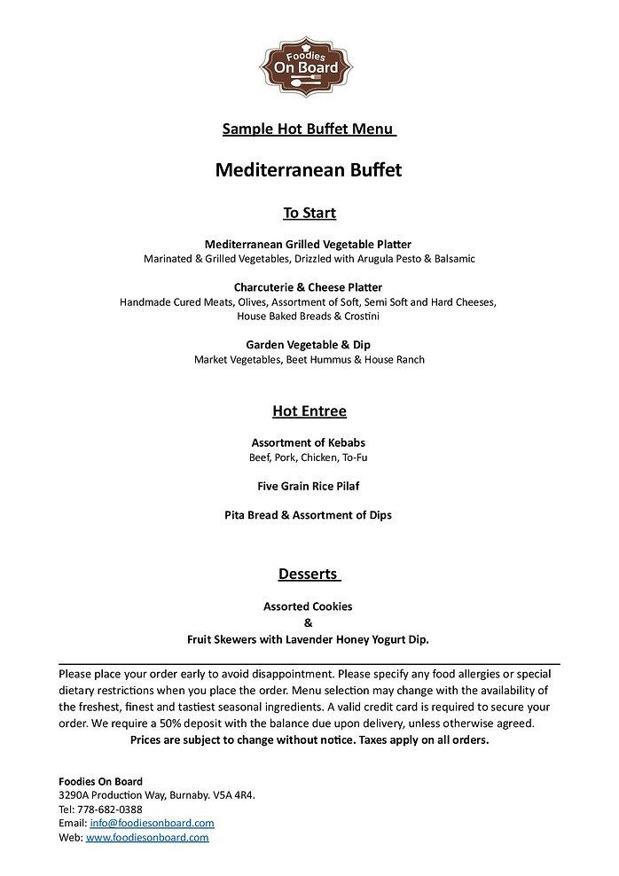 2019 Sample Hot Buffet Menus (Mediterran