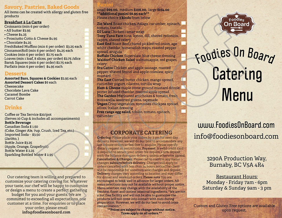 Foodies On Board Corporate Catering Menu