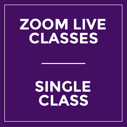 Single Class - Live via Zoom (1 Hour - Not Valid for Saturday Master Class)