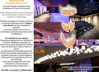 Lumière sur le Design : éclairage LED sans fil sur panneaux conducteur d'électricité