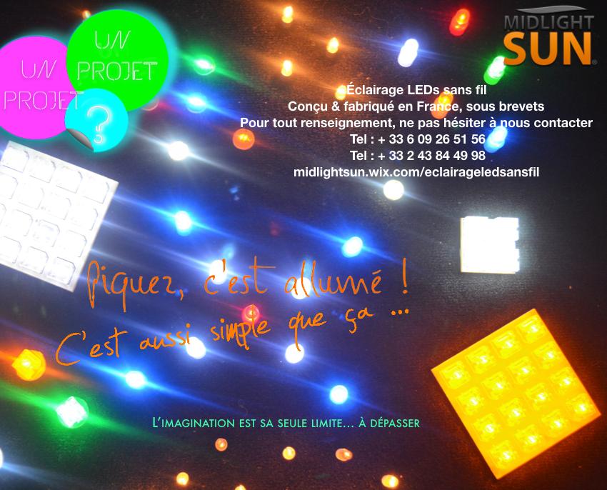"""Nouveaux modes constructifs :  panneaux isolants conducteur d'électricité conçus & fabriqués en France sous brevets. Éclairage LED sans fil (LEDs, lucioles, spots sans fil """"punaises sans fil"""")"""