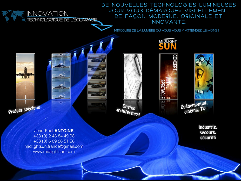 MIDLIGHTSUN Innovation technologique de l'éclairage : tissu lumineux, fibre optique diffusante, LED : salon BATIMAT
