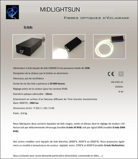 Fiber optic lighting: 15W generator