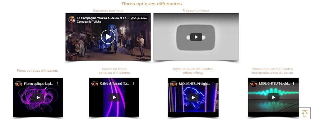 Nos vidéos | fibres optiques diffusantes | MIDLIGHTSUN - Spécialiste en fibre optique lumineuse et tissus lumineux - fabrication française