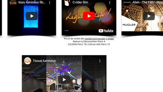 Les vidéos de MIDLIGHTSUN | MIDLIGHTSUN - Spécialiste en fibre optique lumineuse et tissus lumineux - fabrication française |
