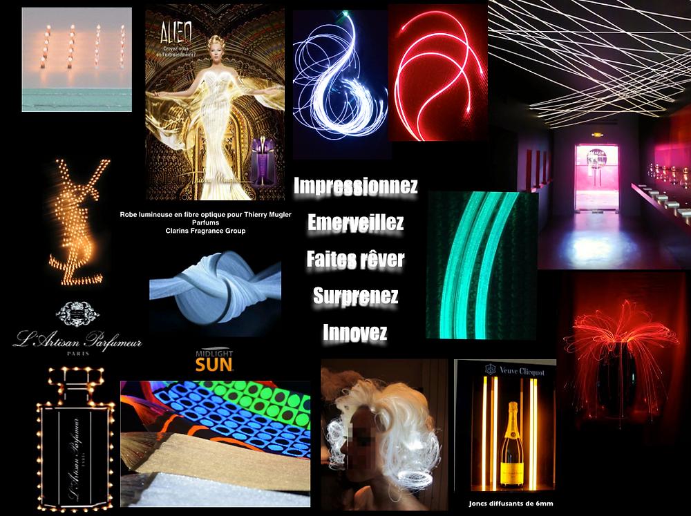 La Magie de la lumière : tissus lumineux, fibre optique diffusante, punaises LEDs sans fil...conçus & fabriqués en France-MIDLIGHTSUN