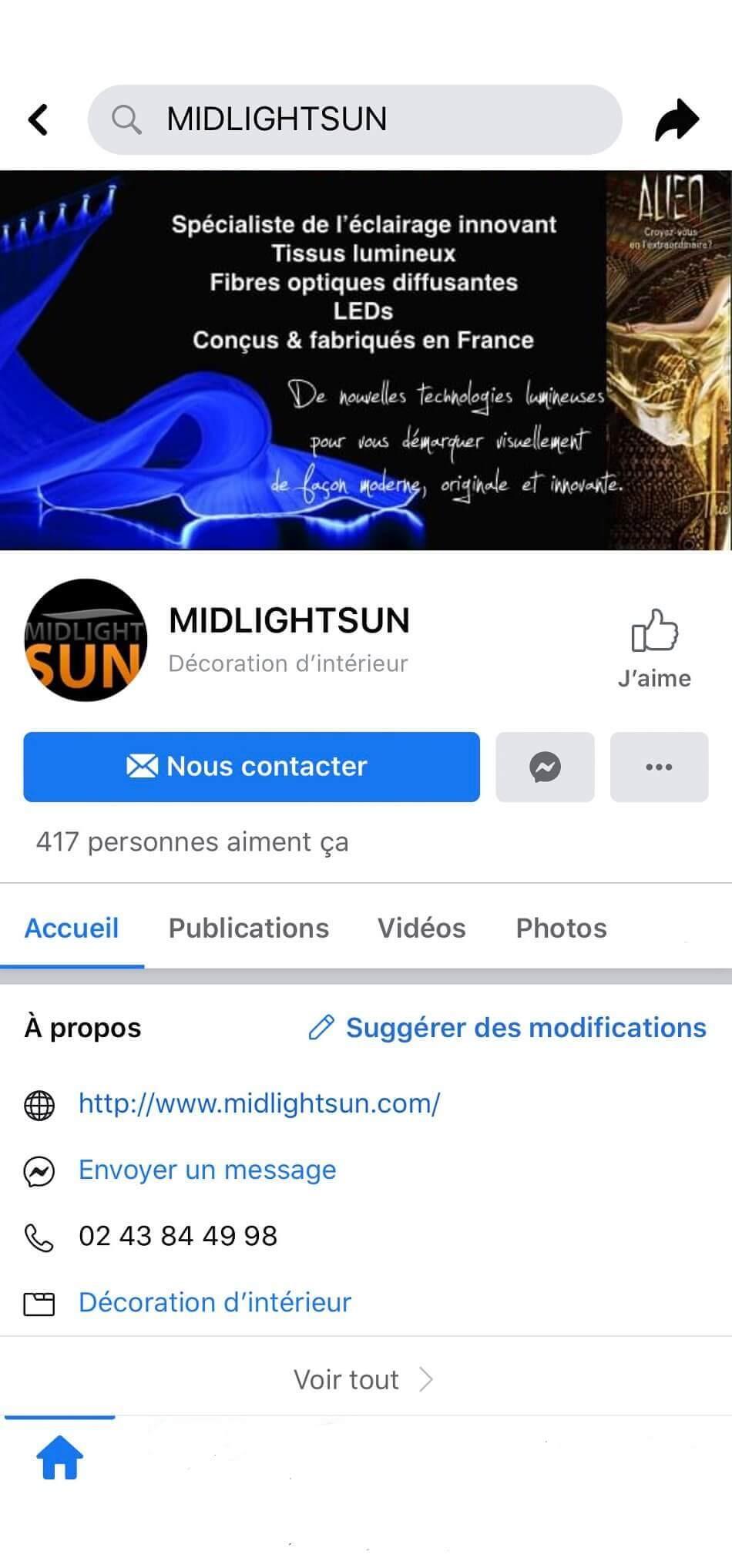 MIDLIGHTSUN Facebook | MIDLIGHTSUN - Spécialiste en fibre optique lumineuse et tissus lumineux - fabrication française