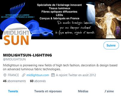 Le Twitter de MIDLIGHTSUN | Spécialiste en fibre optique lumineuse et tissus lumineux