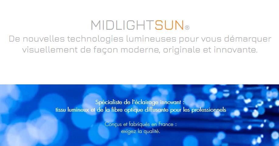 MIDLIGHTSUN spécialiste de l'éclairage innovant   Spécialiste en fibre optique lumineuse et tissus lumineux - fabrication française