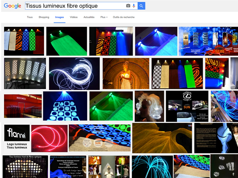 tissus lumineux fibres optiques