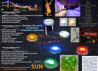 """Éclairage LEDsans fil sur panneaux conducteurs d'électricité. """"punaises LEDs lumineuses"""