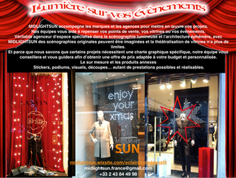 Éclairage LEDs sans fil : événements, points de vente, vitrines lumineuses - MIDLIGHTSUN
