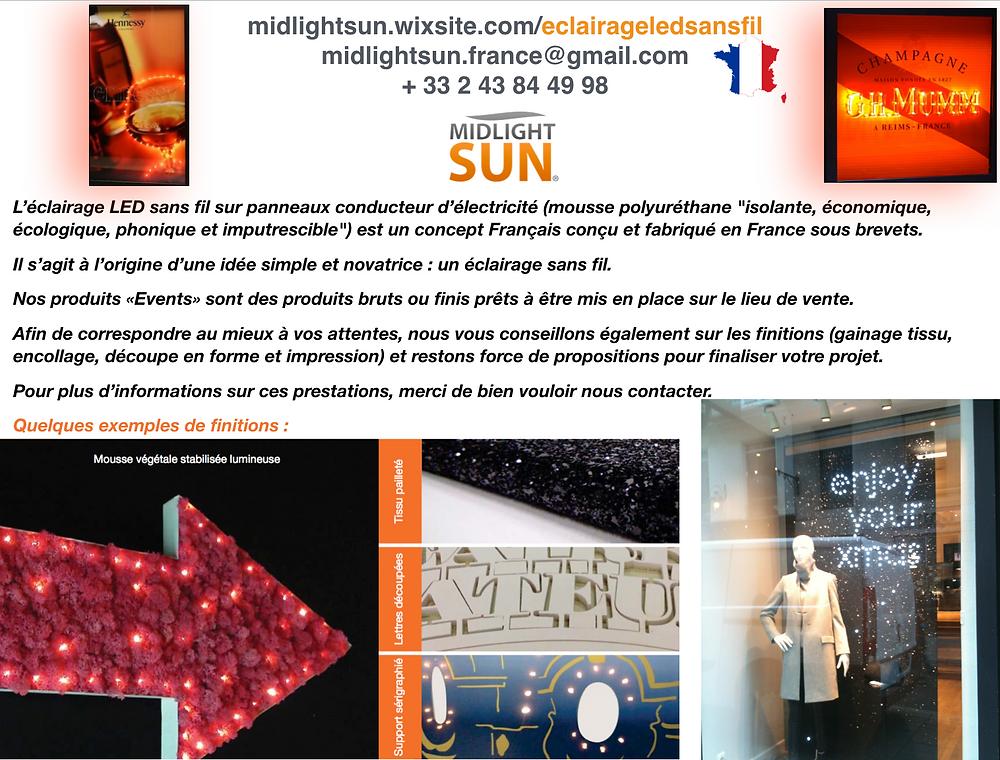 L'éclairage LED sans fil sur panneaux conducteur d'électricité-concept Français conçu et fabriqué en France sous brevets.MIDLIGHTSUN