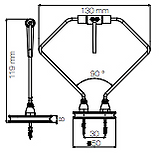 Dimension spot sans fil Ibis H119mm Ø50