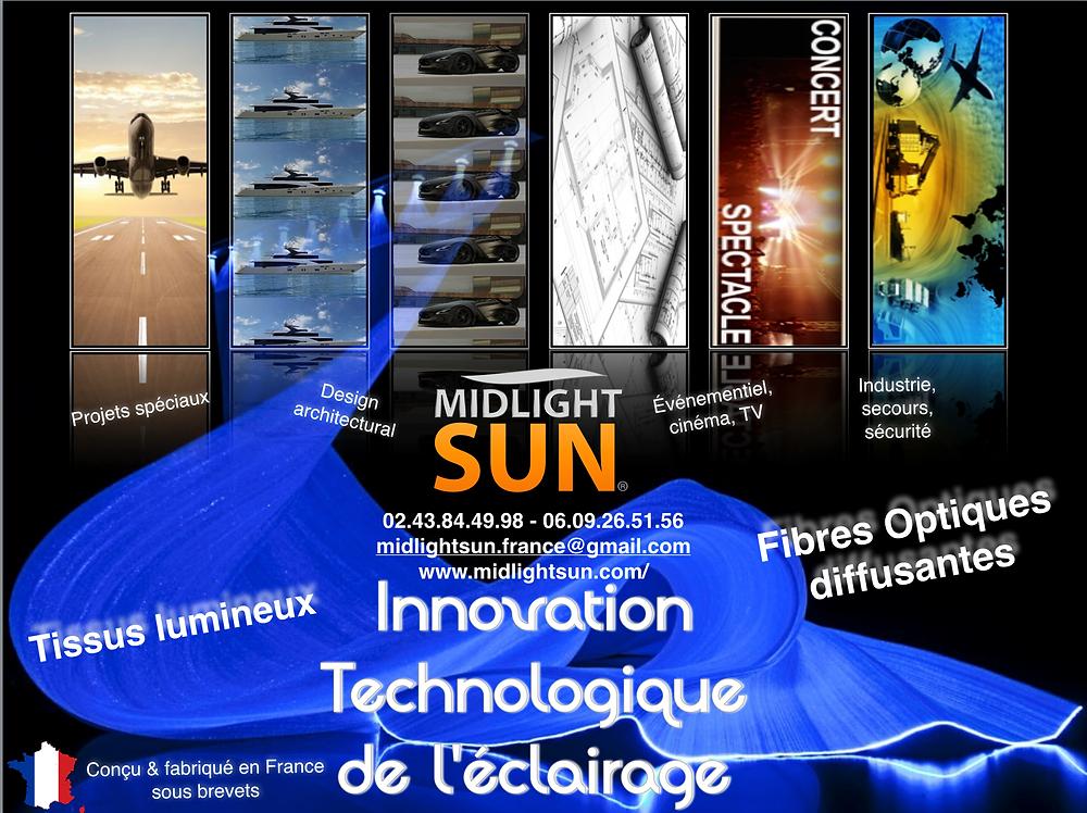 éclairage innovant conçu & fabriqué en France : fibre optique diffusante & tissu lumineux tissé de fibres optiques diffusantes