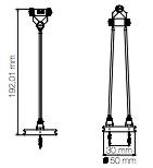 Dimension spot sans fil Cigogne H192,01mm Ø50