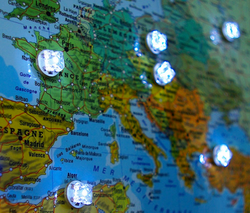 carte géographique lumineuse