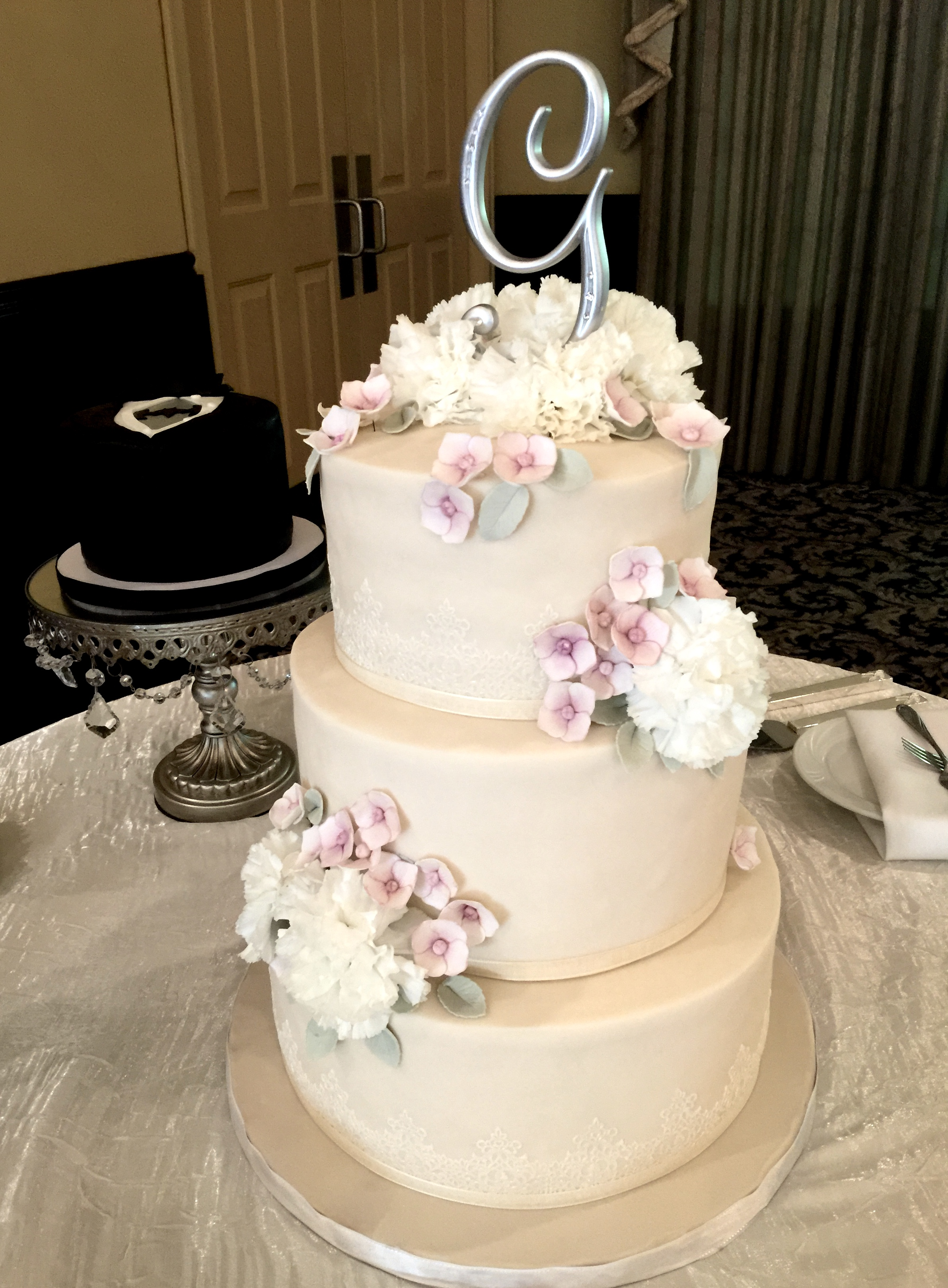 Champagne Cake with Sugar Hydrangeas