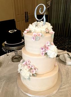Champagne Cake with Sugar Hydrangeas