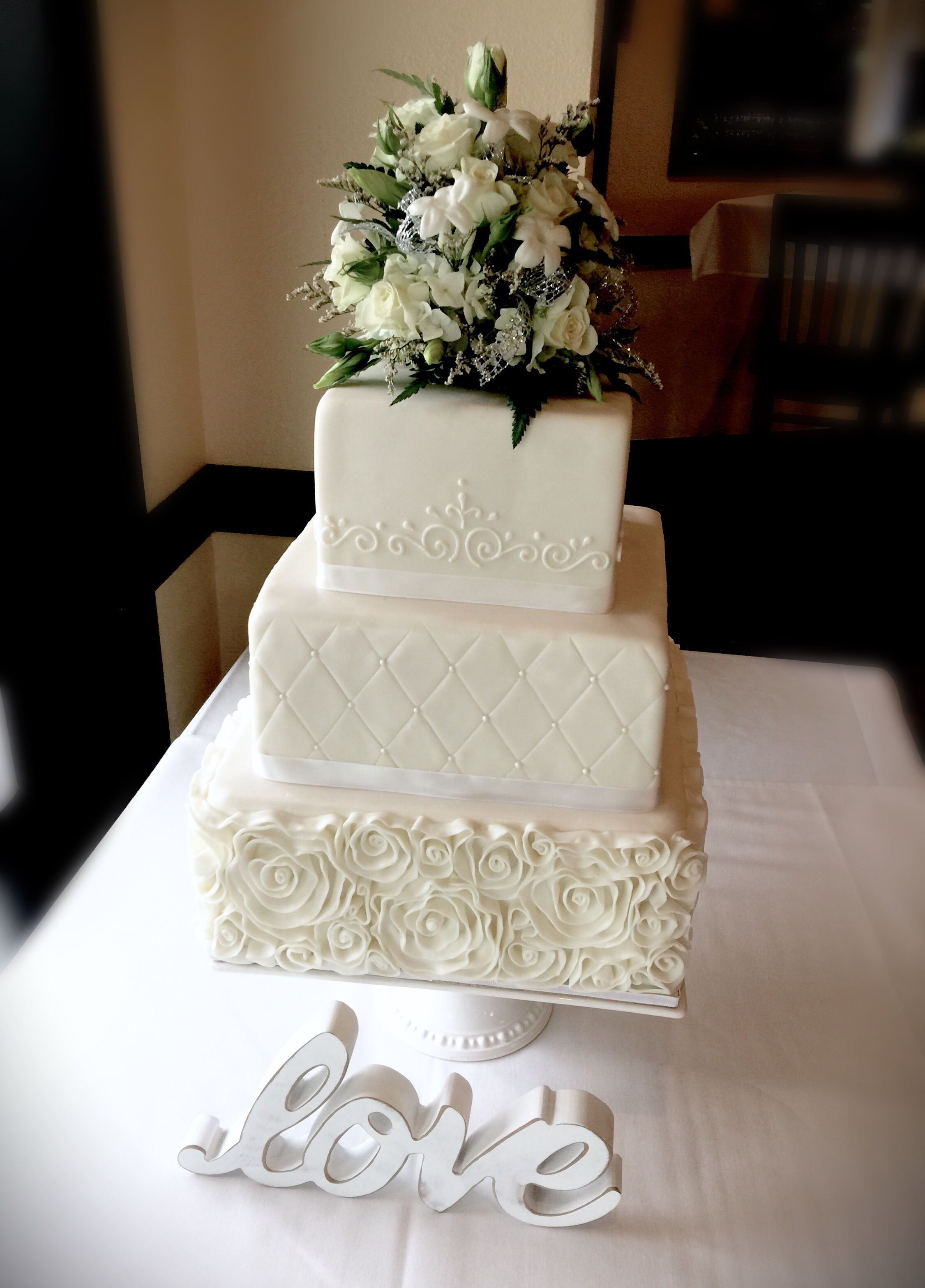 Square Formal Wedding Cake