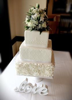 Square Formal Wedding Cake