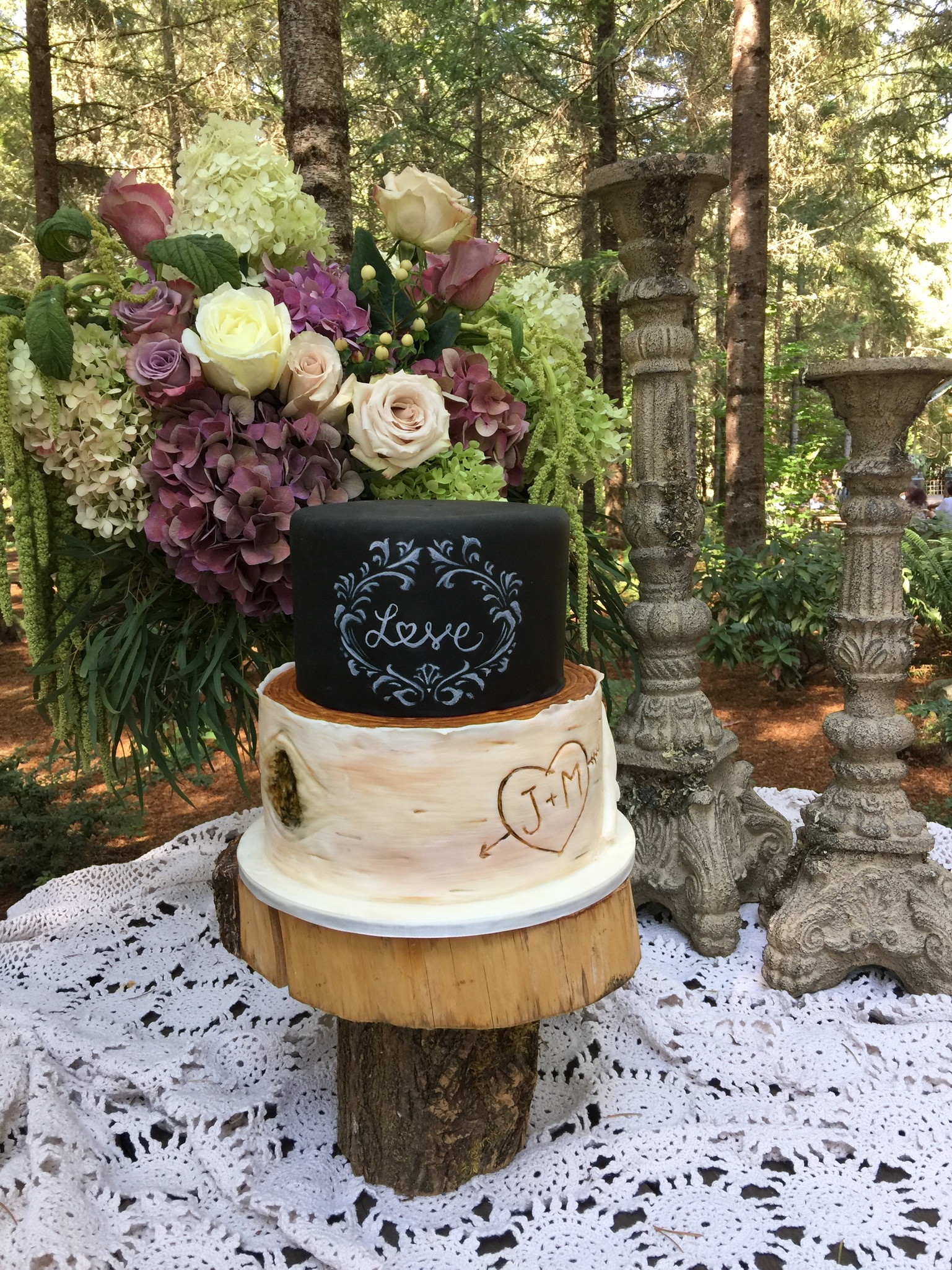 Chalkboard & Birch Wedding Cake