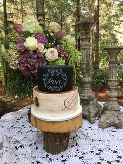 Chalkboard & Birch Wedding Cake