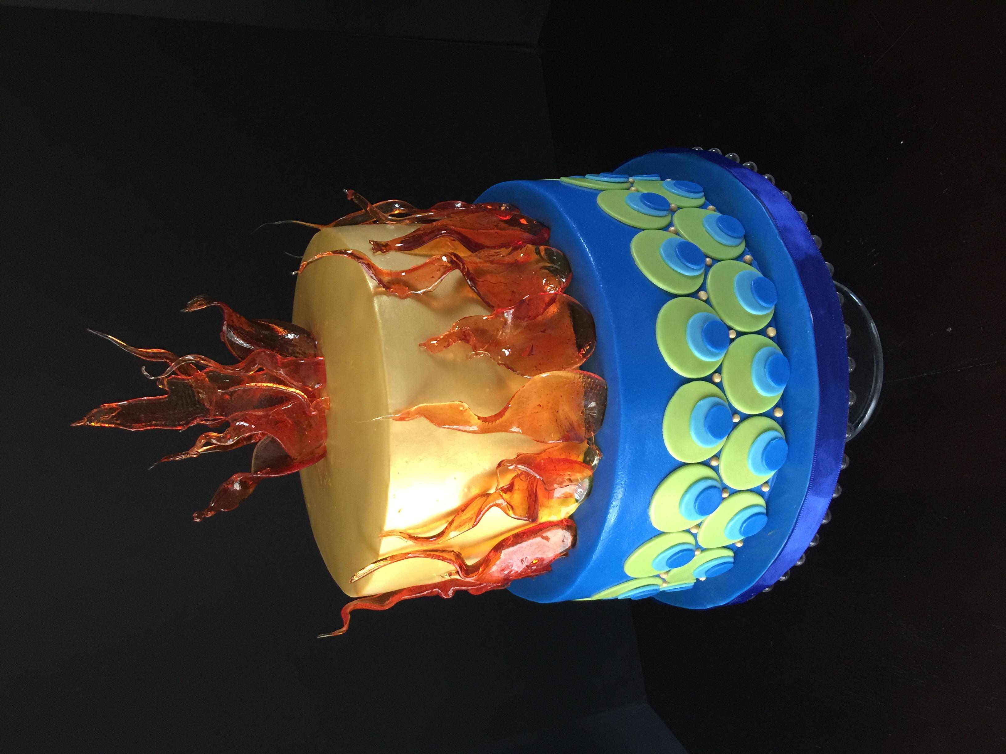 Fire & Peacock Cake