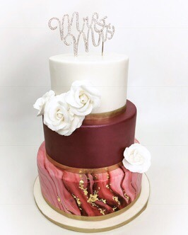 Wine Marbled Wedding Cake