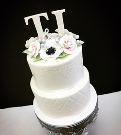 Edible Lace & Sugar Flower Cake